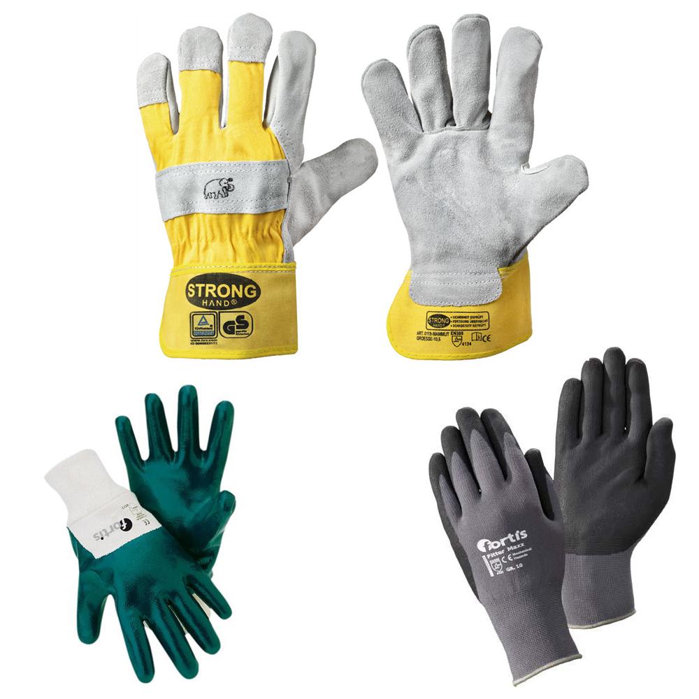 Arbeitshandschuhe, Schweißerhandschuhe, Nitril-Handschuhe, Spaltleder-Handschuhe, Strickhandschuhe