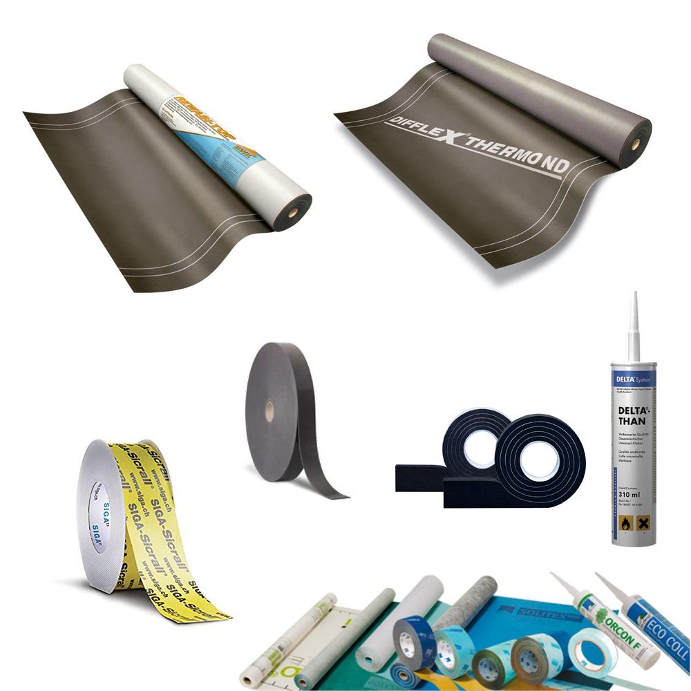Dachbahnen, Dampfbremsen, Kleber, Dichtmaterial