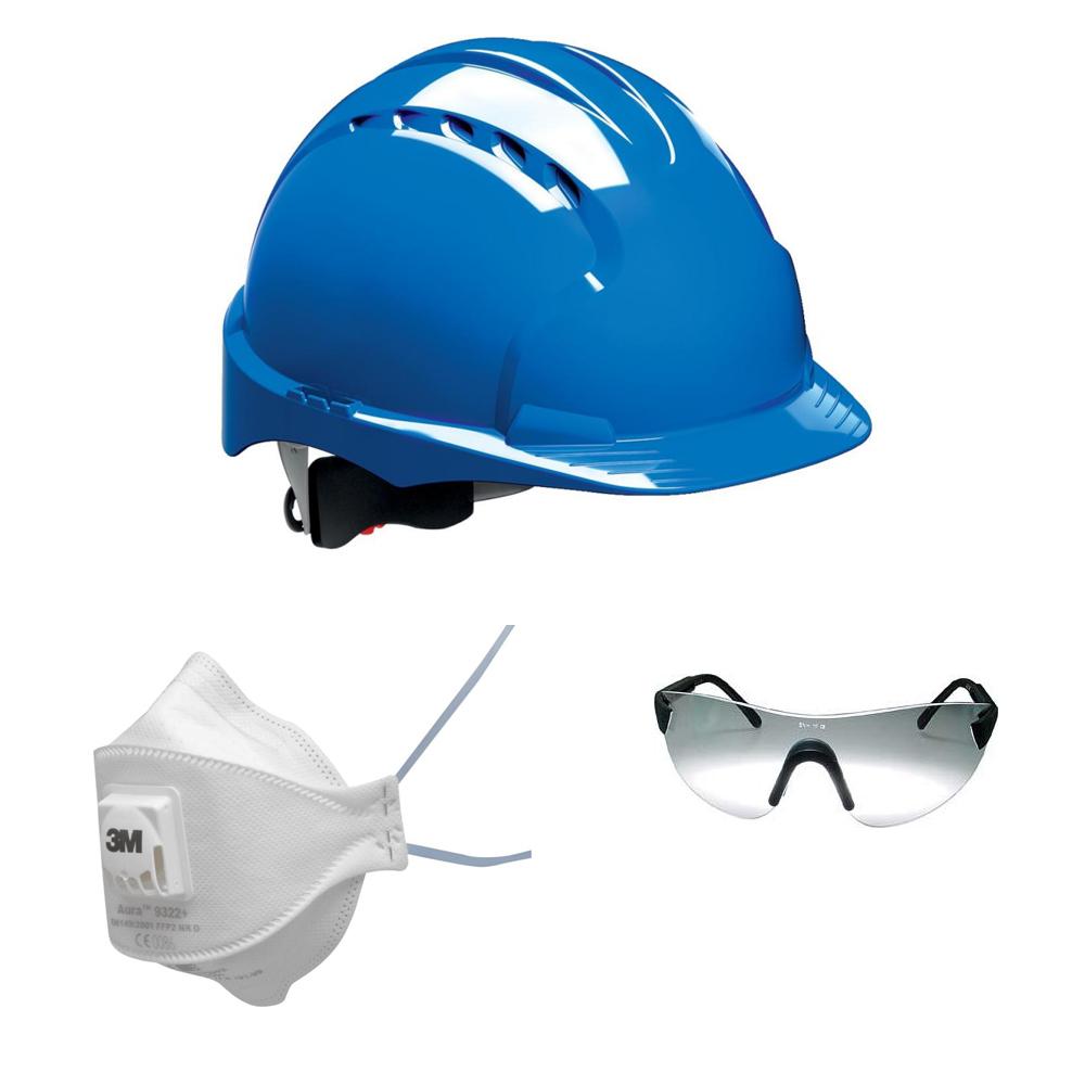 Kopfschutz, Schutzbrille, Atemschutz